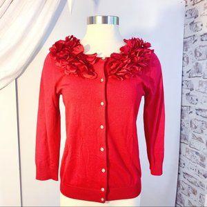 CABLE&GAUGE Floral Appliqué Button Up Cardigan S